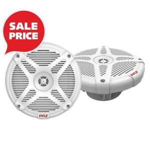 Early Bird Sale - PYLE PLMR652W Dual 600 Watt 2-Way Coaxial 6.5 Waterproof Marine Speakers (Pair)