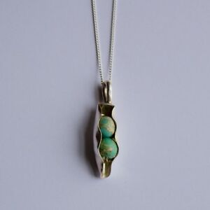 Two Peas In A Pod Necklace Handmade Silver Unusual Jewellery