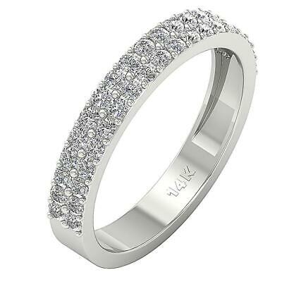 2 Row Half Eternity Ring SI1 G 0.70 Ct Round Cut Diamond 14K Solid Gold Pave Set 2 Row Pave Diamond