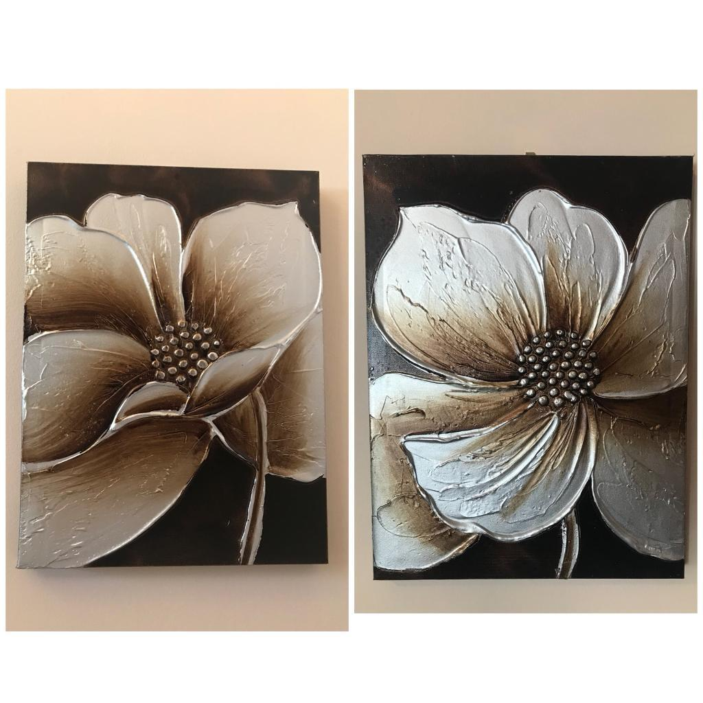 2 x Brown flower Canvases
