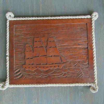 VINTAGE carved WOOD nautical MARITIME boat SHIP wall PLAQUE folk art ROPE trim
