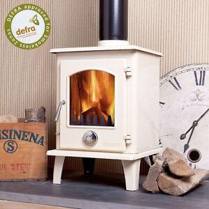 DEFRA APPROVED Eco Enamel Petit Multifuel Woodburning Stove 5kw Cream Ivory