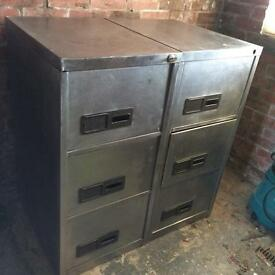 Stripped metal filing cabinets