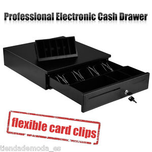 Black Heavy Duty Cash Drawer Electronic 4 Bills 8 Coins 1 Cheque Slot Tray POS