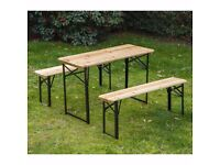 Wooden folding tables and benches set x 2 - £45/£35