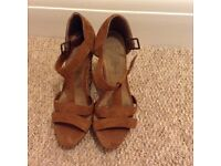 Tan wedges size 6 (39) for sale