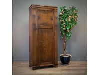 Attractive Antique Wylie & Lochhead Single Carved Oak Wardrobe Hall Cupboard
