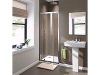 Brand new 6mm pivoting shower door - 760mm wide