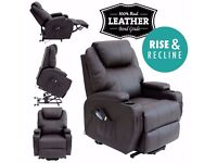 FAUX LEATHER MASSAGE RISE AND RECLINE MOBILITY ARMCHAIR WITH HEAT.