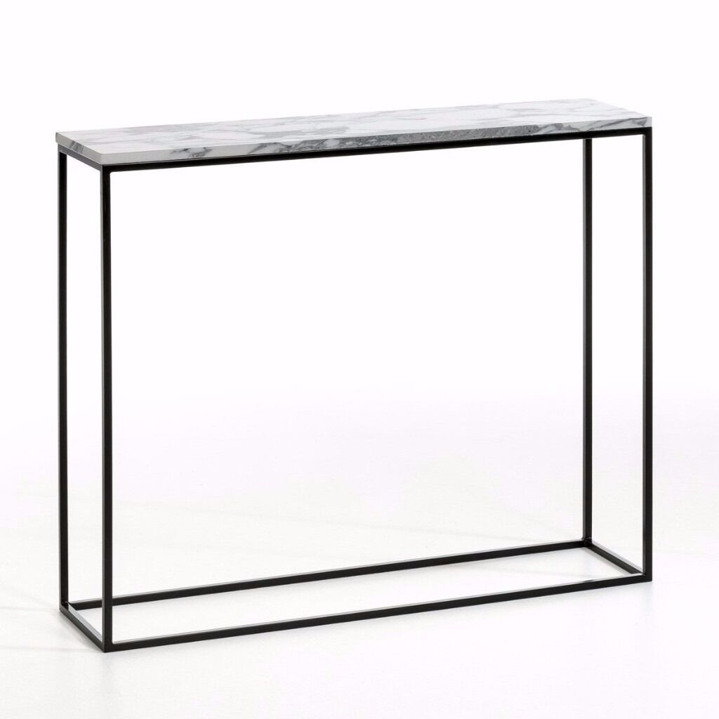Marble Mahaut Black Metal And Marble Console Table