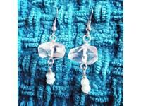 Clear Quartz & Peruvian Blue Opal Gemstone - Sterling Silver Drop Earrings