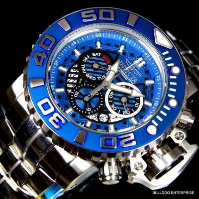 Invicta Sea Hunter II Blue 70mm Full Size Steel Swiss Made Chronograph Watch New