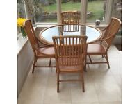 Angraves Cane Conservatory Furniture (Glass Topped Table and Four Chairs)