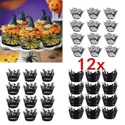 12X Halloween Spider Cupcake Wrappers Paper Cake Topper Favor Party Decor #L