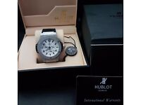 New Mens boxed black canvas on rubber strap hublot fusion with silver face currently Silver ceramic