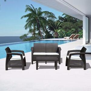 4 pcs All Weather Outdoor Patio Set Rattan Wicker Garden Furniture w/ Cushions