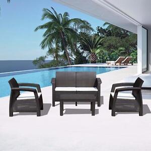 4 pcs All Weather Outdoor Patio Set Rattan Wicker Garden Furniture w/ Cushions