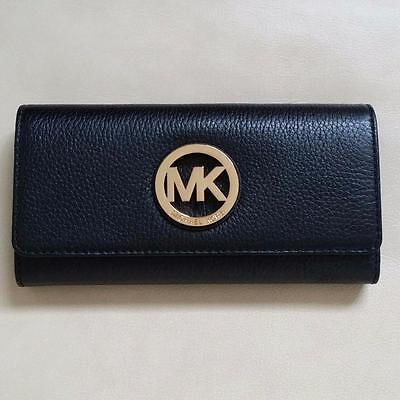 NEW Michael Kors Black Leather Gold Fulton Flap Continental  Wallet