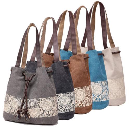 Canvas Shoulder Bag Retro Casual Purse Tote Handbag Travel M
