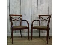 David Edward Solid Wood Upholstered Carver Restaurant Reception Dining Chairs