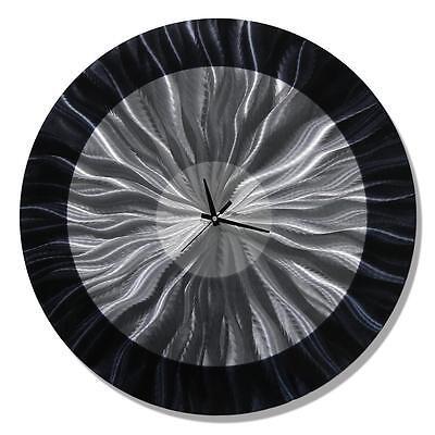 Abstract Modern Black Round Metal Wall Clock Art Circle Home Decor by Jon Allen