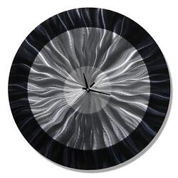 Round Black Wall Clock - Modern, Contemporary Kitchen Wall Clock 24d - Large