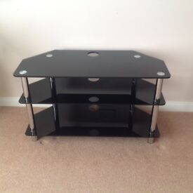 Black glass t.v stand with chrome legs