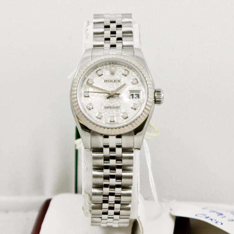 Rolex Ladys Datejust Model 179174 Factory Silver Anniversary Diamond Dial W Card