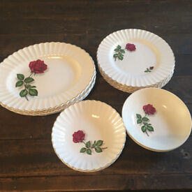Vintage Retro Dinner Set Plates And Bowls Floral Rose 🌹 Design With Gold Trim