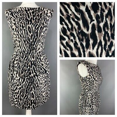 Warehouse Size 10 Leopard Animal Print Sheath Dress Lined Cotton On (Warehouse On Line)