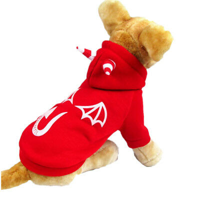 Lightening Devil Dog Pet Soft Jumpsuit Clothes Costume Cat Coat Hoodie S Red (Devil Dog Pet Costume)