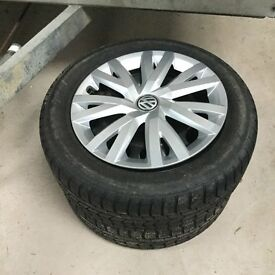 Wheels with winter tyres for sale.