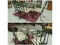 Solid wrought iron dinning & 6 chairs can deliver 07808222995