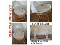 Moses Basket Matresses & 2 Stands £20