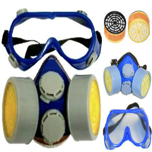 RESPIRATOR FACE MASK DUST MASK MASKS TWIN GAS CARTRIDGE WITH SAFETY GOGGLES NEW