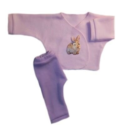 Pink Bunny Baby Girl Shirt Pants Easter Clothing - Preemie Newborn Baby Sizes