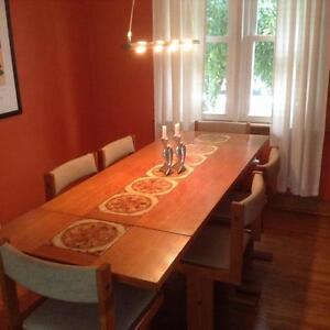 Mid-century modern teak dining room table set