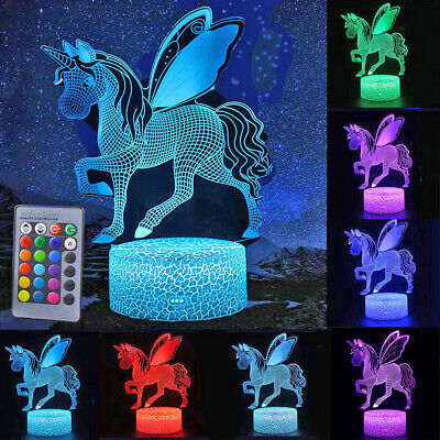 Unicorn 3D Lamp LED Touch Control Night Light 7 Color Change Bedside Table Decor ()