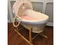 Baby Moses Basket With Mattress, Cover, Hood, Dressing and Stand -slightly used