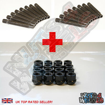 16 Wheel Stud Conversion kit Black Open Nuts 75mm (+10) fit Renault Clio 5 9 21