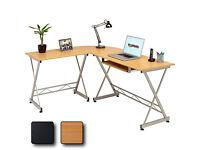 Corner Computer Desk Writing Table with Keyboard Shelf Beech Effect Piranha . good condition .