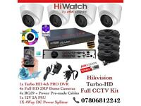 Hikvision HiWatch CCTV Kit, 4CH Hikvision Turbo-HD PRO DVR 1TB HDD, 4x Hikvison 1080P Dome Cameras
