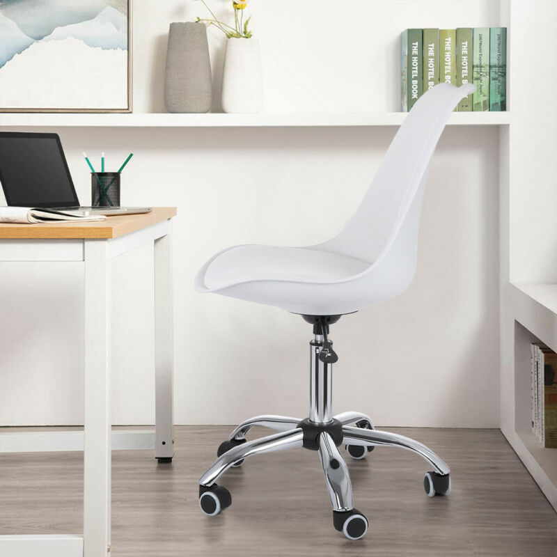 Upholstery White Desk Chair Faux Height