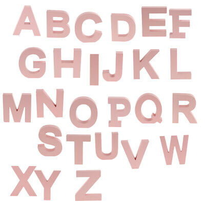 Wooden Pink 26 Alphabet Letters Marquee Letters Wall Door Hanging Sign A-Z