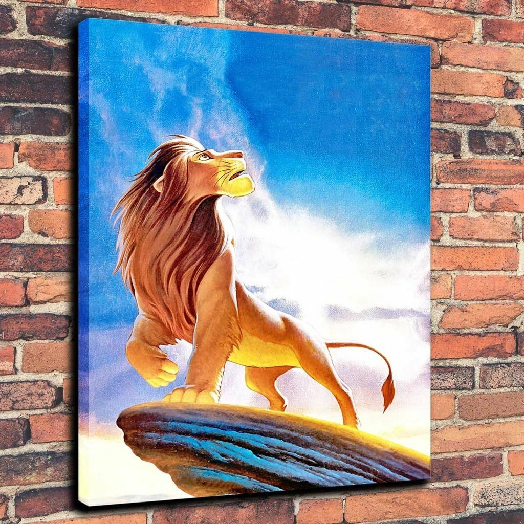 HD Print Oil Painting Home Decor on Canvas Lion King Multiple Size Options
