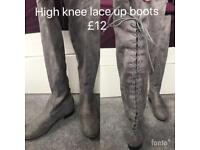 Knee high suede lace up boots