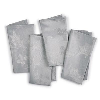 Elrene Home Set of 4 Silver Metallic Holly Christmas Holiday