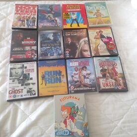 DVDs, job lot.