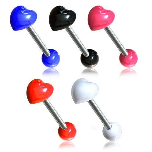 5pcs Acrylic Heart 316L Surgical Steel Tongue Rings Tounge 14g Wholesale Lot