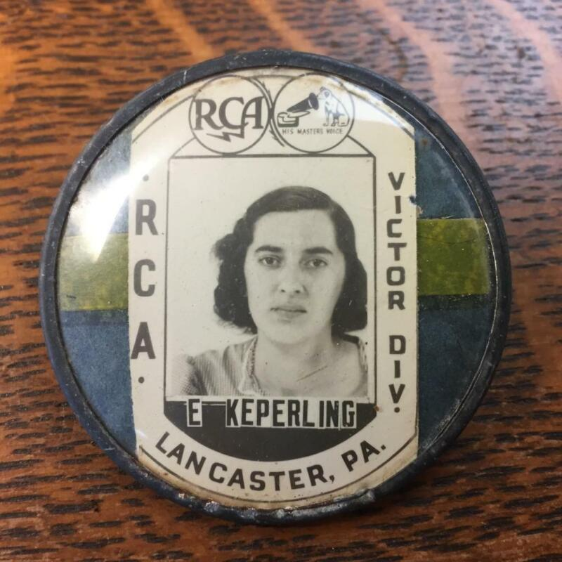 Vintage RCA Victor Division Lancaster PA Employee Photo ID Badge Pin-Back Button